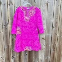 Children Zara Girls Pink Floral Paisley Print 3/4 Sleeve Shift Dress Size 8