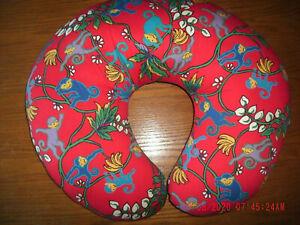 "Red Fabric Monkey Design Nursing Pillow Boppy style VGC 22 x 18.5 x 4"" no cover"