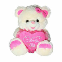 """10/"""" Bear Plush with Hat White Musical Girl Pink Birthday Song NEW"""