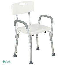 Medical Shower Bath Chair Adjustable Bench Stool Seat with Detachable Back Arms