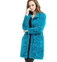 S-6XL Womens Faux Fur Coat Long Floral Warm Outwear Parkas Overcoat Jacket New P