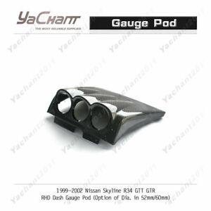 Carbon Kit For 99-02 Nissan Skyline R34 GTT GTR RHD Dash Gauge Pod 60mm
