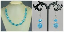 Sparkly blue glass bead turquoise crystal silver chain necklace +hooked earrings