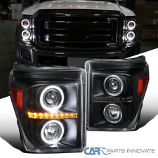 Fit Ford 11-16 F250 F350 F450 F550 Super Duty Black Halo Projector Headlights