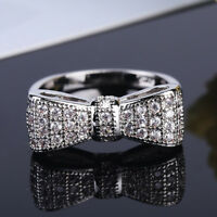 Women Fashion Silver Plated White Sapphire Bow Ring Wedding Jewelry Size 5-10 U
