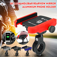 360° Aluminium USB Chargeur Rapide Moto Vélo Guidon Support Pr Téléphone GPS
