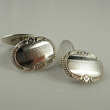 Gatsby Jewelry Engraved Cufflinks Antique Mens Cuff Links 1920s 1930s Silver