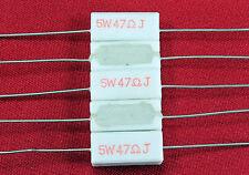 47 ohm / 47J - 5 watts / 5W - 5% - Ceramic Cement Power Resistors (QTY 5)
