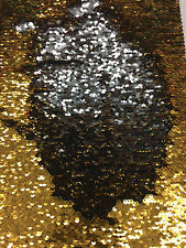 "Mermaid Reversible Sequin Silver/Gold On Spandex Fabric 58""/60"" Sold by yard"