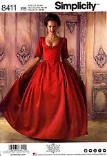 Simplicity Sewing Pattern 8411 Women's 14-22 18th Century Costume Bodice Skirt