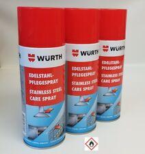 [16,66€/L] 3x Würth Edelstahlpflegespray Reiniger Pflege Spray 3x 400ml 0893121