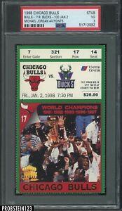 Jan 2nd 1998 Chicago Bulls vs Bucks Ticket Stub Michael Jordan 44pts PSA 3 VG