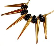 SHINY GOLD SPIKES & BLACK METAL SKULL BEADS NECKLACE pendant bib punk glam F4