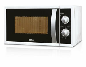 CELLO 800W MICROWAVE OVEN MM820CXN 20L 5 POWER LEVELS GLASS TURNTABLE CLOCK