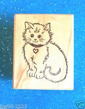 PSX Fluffy Cat with Heart Collar ~ C-109 ~ Wood Rubber Stamp ~ NEW! ~ Retired