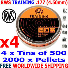 RWS TRAINING .177 4.50mm Airgun Pellets 4 (tins)x500pcs (10m RIFLE) 0,53g