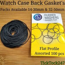 FLAT RUBBER WATCH GASKETS O-RINGS SEALS ASSORTED 100 PCS  14-30 or 32-50 MM