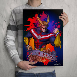 ALL MIGHT PRINT - My Hero Academia A3 Poster Art Signed by Manga Artist - manga