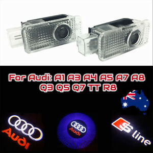 2x Audi Projector Car Door Lights Cree Led Shadow Puddle Welcome Courtesy AU