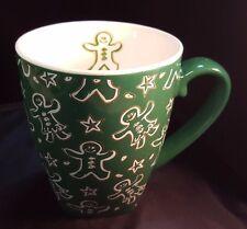 Starbucks Mug 2001 Christmas Holiday ~ Green w/ Gingerbread Men Gold Stars 18oz