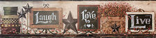 New Primitive Folk Art Chalkboard Signs LIVE LAUGH LOVE Star Wallpaper Border