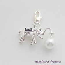 Shiny Silver Plate 3D Elephant Carrying Pearl Charm fit Clip On Charm Bracelet