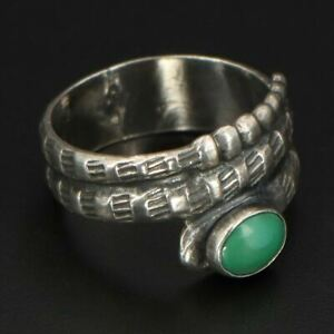 VTG Sterling Silver - NAVAJO Turquoise Wrap Around Snake Ring Size 7.5 - 4g
