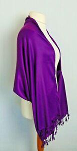 Purple Shawl Pashmina Wrap Stole Shrug Cape w Arm/Sleeve & Tassel Finish