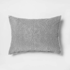 "Opalhouse Stitched Medallion Pillow Sham Gray 26"" x 20"" Standard Size - New"