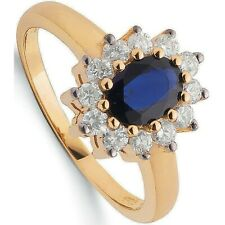 Sapphire and Diamond Ring Yellow Gold Oval Cluster Hallmarked Certificate