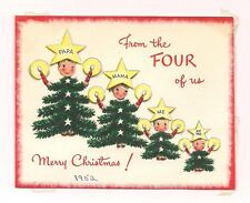 OLD VINTAGE NORCROSS 1952 CHRISTMAS GREETING CARD SILLY DAD MOM KIDS FAMILY