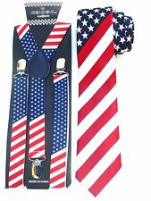 NEW American Flag Mens Suspender Necktie USA Patriotic Suspend Neck Tie US