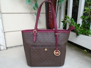 Michael Kors MK signature brown/burgundy PVC pocket tote bag