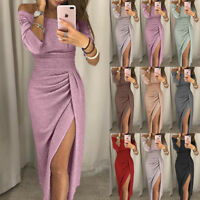 Women Sparkly Off Shoulder Bardot Evening Party Cocktail Maxi Dress Ball Gown UK