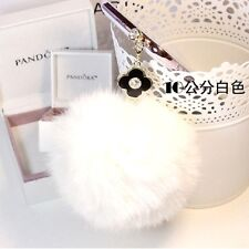 Clover White Rabbit Fur Ball 3.5mm Anti-Dust Ear Cap Plug For Smart PhonePendant