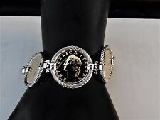 """Vicenza Silver Sterling Authentic Lire Coin Bracelet Lg. 8"""" Rope Border NWT"""