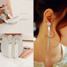 Long Dangle Drop Clip on Earrings Crystal Women Ladies Stud Silver Tassle Bridal