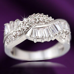 18K WHITE GOLD GF CROSS TWIST BAND LADIES ANNIVERSARY WEDDING DRESS CRYSTAL RING