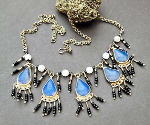 Ethnic Middle Eastern lapis lazuli inlay panel bib necklace vintage tribal