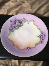 Beautiful Purple Flower Hand Painted JPL Limoges Cabinet Plate