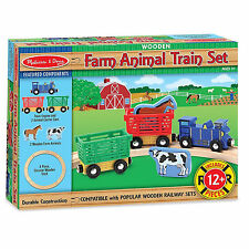 Melissa And Doug Wooden Farm Animal Train Set NEW Toys Kids Fun