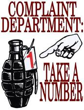 funny man cave sign plastic complaint department take a number gernade store