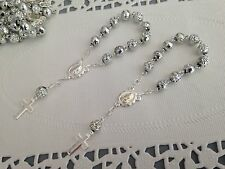 60 Pc Mini Rosary Acrylic SILVER Color Baptism Favors / First communion Favors