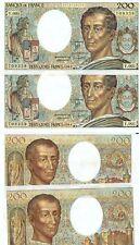PAIRE DE 200 Francs MONTESQUIEU Numéros qui se suivent  Année 1981   Y.001