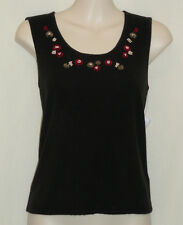 EVAN PICONE Knit Top, SZ M, NWT MSRP $38, Black w/ Red & Sage Floral Embroidery