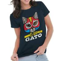 The Crazy Cat Funny Mexican Wrestler Pet Owner Novelty Ladies T Shirt For Women