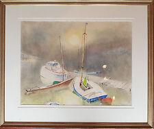 Altes Aquarell von Eugen Croissant 1898 - 1976 am Chiemsee 60 x 70 cm. Rahmen