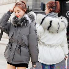 UK Womens Down Cotton Jacket Fur Collar Hooded Slim Fit Warm Short Parkas Coat