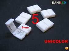 5 X CONECTORES EMPALME DE 2 PIN UNICOLOR 8mm PARA TIRA LED SMD 3528 UNICOLOR