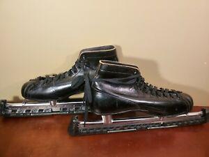 Vintage Nestor Johnson's Mfg. Mens Size 11 Ice Speed Skates w/Guards